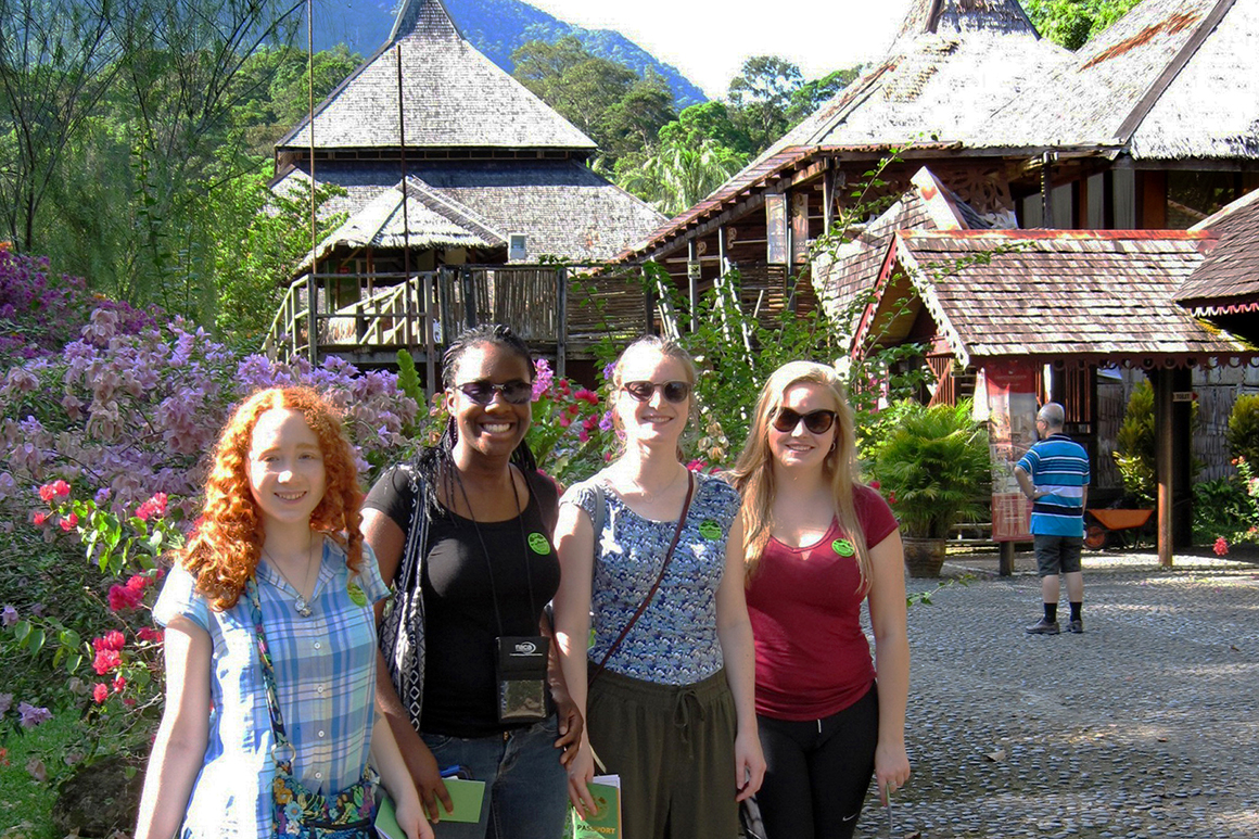 From left, Melissa Gryan '18, Martina Umunna '18, Maggie MacMullin '16, and Megan Demit '16 in Malaysia.