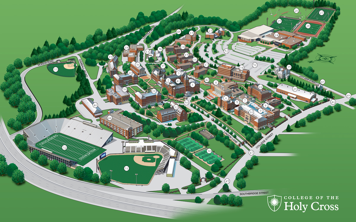 university of worcester campus map Admissions Map 3d College Of The Holy Cross university of worcester campus map