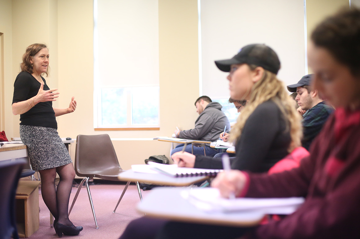 Vickie Langohr, associate professor of political science, teaches her Middle East Politics class.