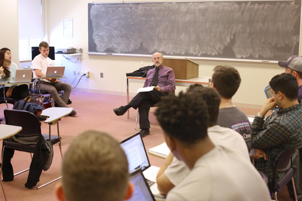 Donald Brand, professor of political science, teaches his Presidential Selection course.