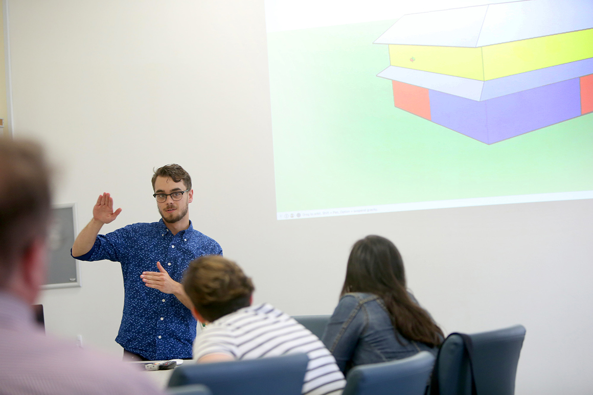 Joe Metrano '18, Architectural Studies and studio art double major, discusses his research on sustainable housing.