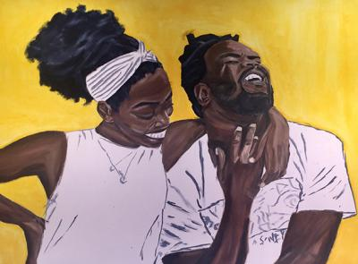 Demetrius Wilson's oil painting titled 'Sweet Bliss' - cropped