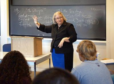Joanne Pierce, professor of religious studies, pictured here during a lecture.