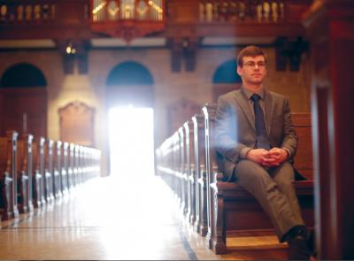 Luke Lapean '19 in St. Joseph Memorial Chapel