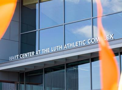 Main entrance of the Hart Center at the Luth Athletic Complex