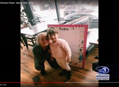 Maggie Wiggin '20 pictured here with Jayla, a four-year-old Worcester native battling leukemia, currently being treated at the Dana Farber Cancer Institute. Photo courtesy of Maggie Wiggin.