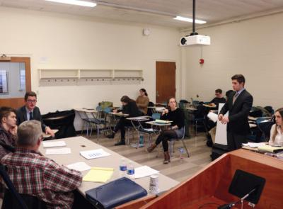 Mock Trial team members prepare for regional tournament.