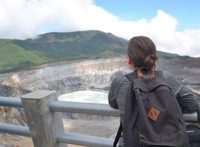 Katie Bowles '18 overlooks the Poas Volcano in Costa Rica while studying abroad. Bowles will be serving in the Peace Corps in Costa Rica for the next two years.