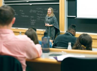 Mary Iafelice '11 addresses students at the Holy Cross Non-Profit Careers Conference in January.