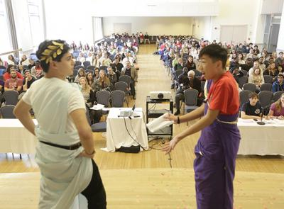 High school students participate in Classics Day 2016. at the College of the Holy Cross.