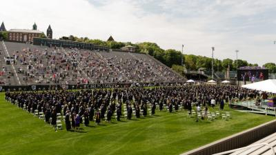 wide angle shot of commencement. Photo by Matt Wright