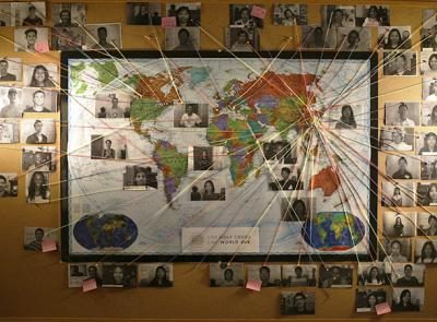 A map located in the international students office highlights the hometowns of international students that attend Holy Cross