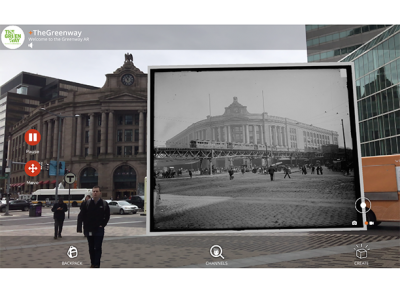 The new art project at the Rose Kennedy Greenway uses augmented reality. Photo courtesy of Amy Finstein, visiting assistant professor of visual arts at Holy Cross.