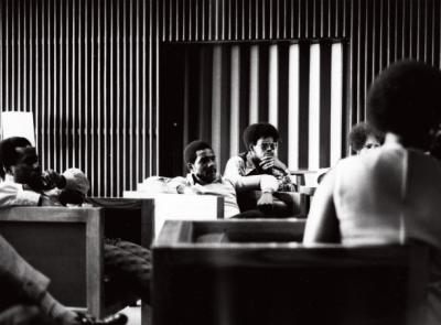Members of the BSU circa 1970 sit together in chairs