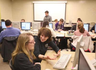 Photo of a Holy Cross computer science classroom