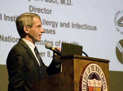 "Dr. Anthony S. Fauci '62 is seen here during a 2010 lecture for to the Holy Cross community titled ""Emerging and Re-emerging Infectious Diseases: The Perpetual Challenge to Global Health"""