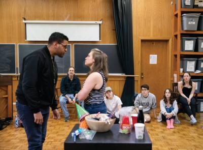 Isser observes students during his Shakespeare Through Performance class this spring