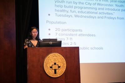 Maia Lee-Chin, the 2020-2021 Fenwick Scholar, presents at Academic Conference.