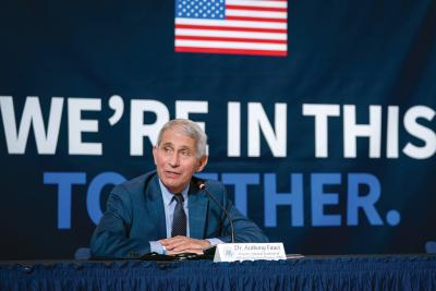 Fauci speaks at a July roundtable on donating plasma at the American Red Cross National Headquarters in Washington, D.C.