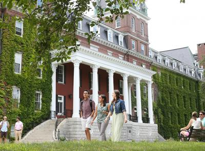 Students walk around the campus during the summer. Photo by Tom Rettig