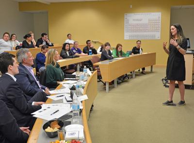 Photo of student presenting at a Shark Tank business competition