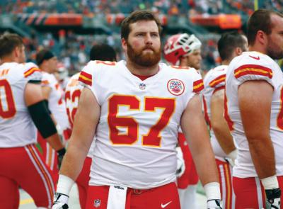 Jim Murray in a Chiefs'jersey