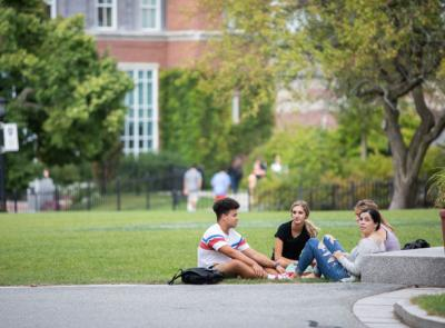 A photo of students on campus