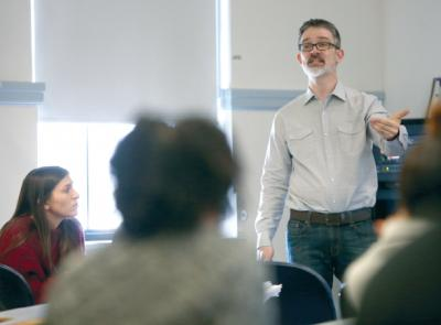 Jeremy Jones, assistant professor of anthropology, lectures in front of his class