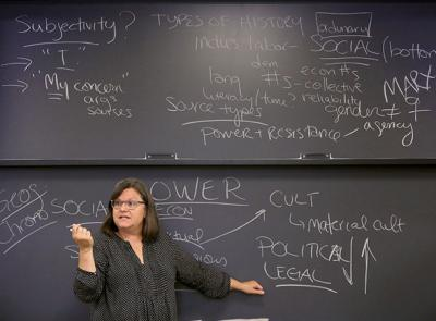 Stephanie Yuhl, professor of history, pictured here teaching a class in September 2017.
