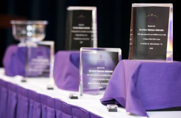 photos of glass awards on table