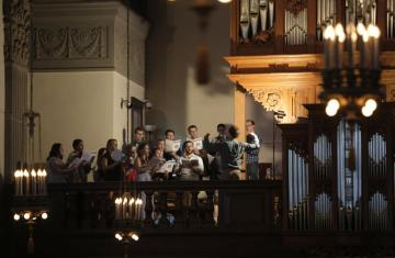 students singing in the chapel choir