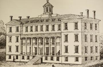 Antique drawing of a building