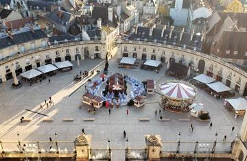 aerial photo of the central square of the historic heart of Dijon, France