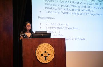 Maia Lee-Chin, the 2020-2021 Fenwick Scholar, presenting at Academic Conference.