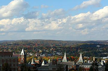 Skyline view of Worcester