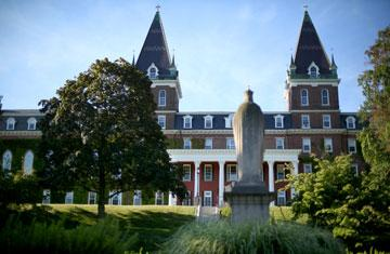 View of Fenwick Hall from Kimball Quad during summer