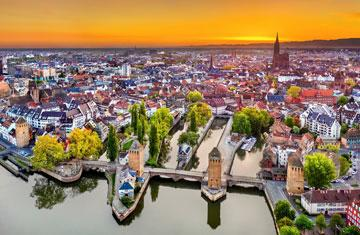 aerial view of strasbourg france