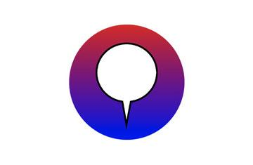 red and blue circle with a white center