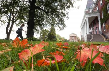 red leaves on the green grass in front of kimball hall