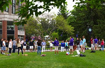 groups of students on hogan courtyard taking part in orientation