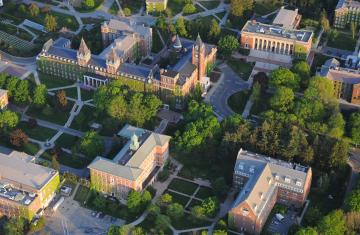 College buildings from above