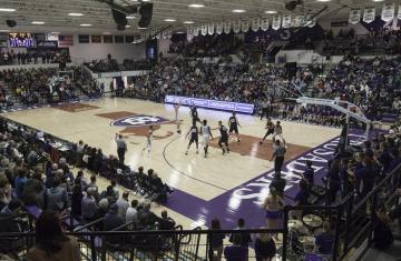 Holy Cross basketball game with crowd