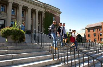 students walking down dinand stairs