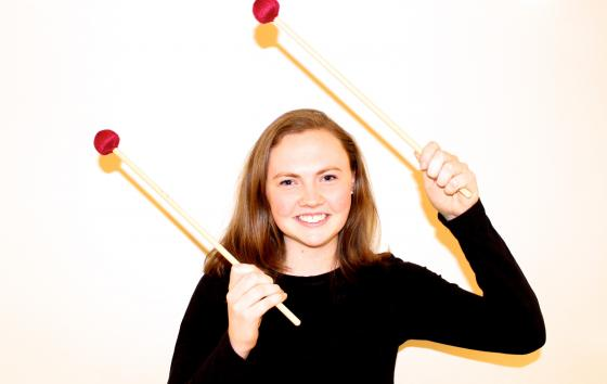 """Andrea Bucknam '20 is one of six Holy Cross percussionists who performed with So Percussion in """"A Gun Show"""""""