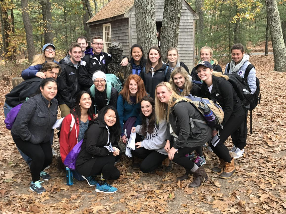 English 399 Thoreau Then and Now class at Walden Pond, Fall 2017