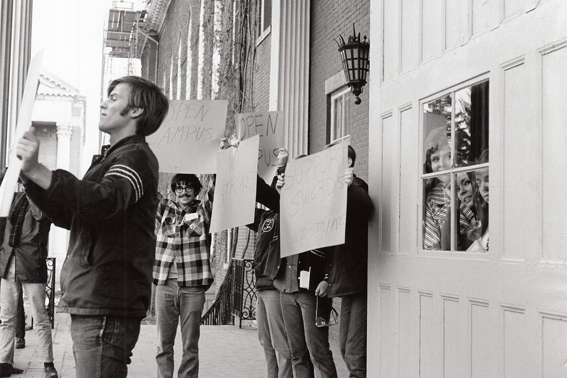 Students gather on Fenwick Porch to protest, a common occurrence during the politically active 1960s.
