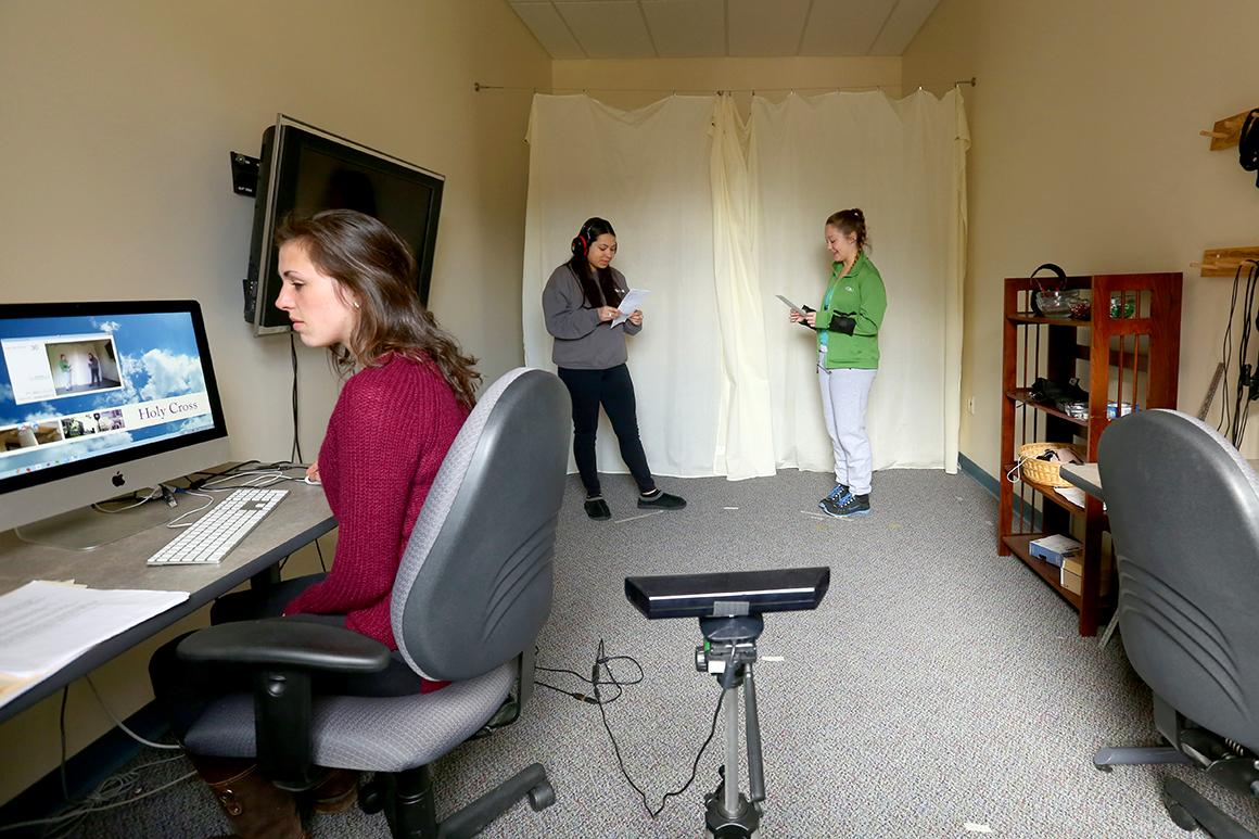 Students conduct research in the psychology department's Cognitive Lab.