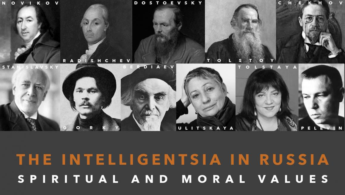 """Banner for """"Intelligentsia in Russia: Spiritual and Moral Values"""" features headshots of 11 members of the Intelligentsia featured in the volume."""