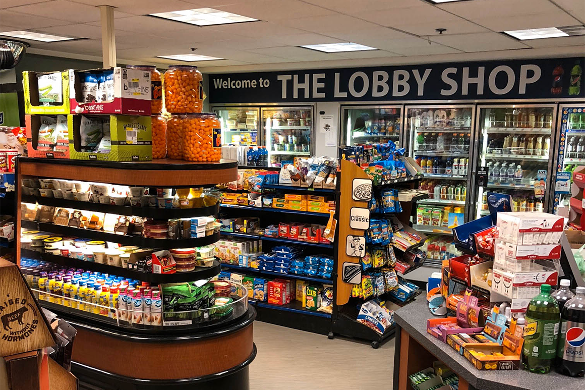 On-campus convenience store, the Lobby Shop