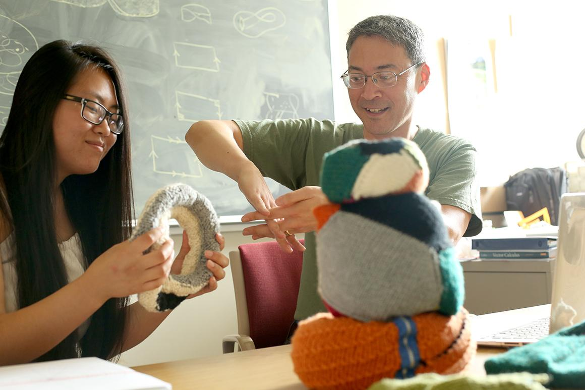 students knitting